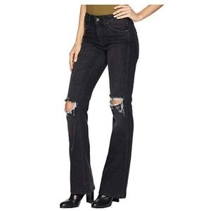 Free People Authentic Ripped Flare High Rise Jeans